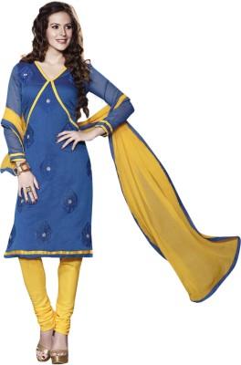 Triveni Triveni Chanderi Self Design Dress\/Top Material (Blue)