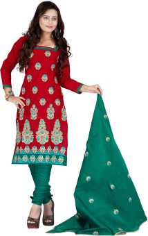 Krizel Trendz Cotton Embroidered Salwar Suit Dupatta Material Unstitched
