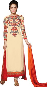 Shop Plaza Georgette, Silk Embroidered Semi-stitched Salwar Suit Dupatta Material Unstitched
