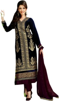 Stylelok Velvet Solid Semi-stitched Salwar Suit Dupatta Material (Unstitched)