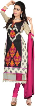 The Fashion World Chanderi Embroidered Salwar Suit Dupatta Material Unstitched