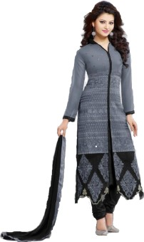 London Beauty Georgette Embroidered Semi-stitched Salwar Suit Dupatta Material Unstitched