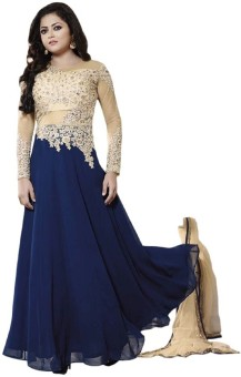 Sanchey Georgette, Net Embroidered Semi-stitched Salwar Suit Dupatta Material, Salwar Suit Dupatta Material Semi-stitched
