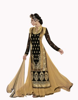 Khushali Georgette, Chiffon Self Design, Embroidered, Embellished Semi-stitched Lehenga Choli Material Unstitched