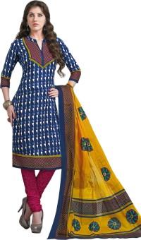 Salwar Studio Cotton Linen Blend Printed Salwar Suit Dupatta Material Unstitched - FABE5HVNNJVP2NTX