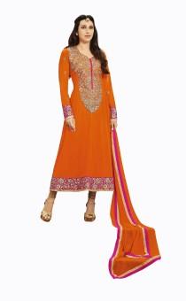 Linyesha Boutique Georgette, Crepe, Chiffon Self Design Semi-stitched Salwar Suit Dupatta Material Unstitched