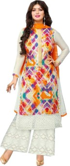 Panchi Cotton Embroidered, Printed Semi-stitched Salwar Suit Dupatta Material Unstitched