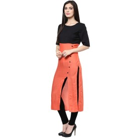 Style Mania Orange Colored Cotton Plain Kurti Cotton Solid Kurti Fabric Un-stitched