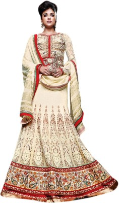 De Marca Net Embroidered Lehenga Choli Material (Yellow)