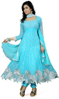 Teeya Creation Sky Blue Georgette Embroidered Semi-stitched Salwar Suit Dupatta Material