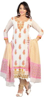 Lookslady Cotton Embroidered Salwar Suit Dupatta Material (Unstitched)