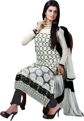 Lifestyle 7 Colors Lifestyle Georgette Self Design Semi-Stitched Salwar Suit Dupatta Material (White)