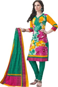 Salwar Studio Cotton Linen Blend Printed Salwar Suit Dupatta Material Unstitched