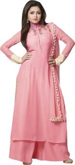 KFHub Georgette, Chiffon Embroidered Semi-stitched Salwar Suit Dupatta Material