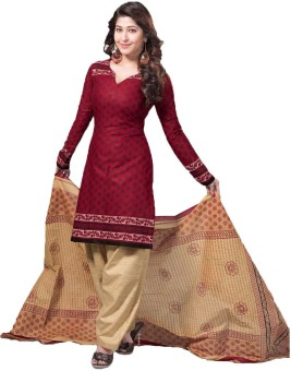 Indian Wear Online Cotton Printed Semi-stitched Salwar Suit Dupatta Material Semi-stitched