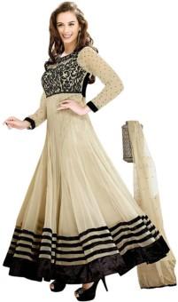 Monika Silk Mill Georgette Embroidered Semi-stitched Salwar Suit Dupatta Material Unstitched
