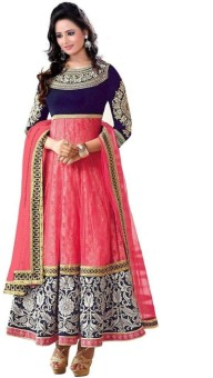 Hk Georgette, Net Embroidered Semi-stitched Salwar Suit Dupatta Material