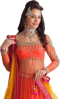 Siyarams Net Self Design Semi-stitched Lehenga Kurta Material, Semi-stitched Lehenga Choli Material