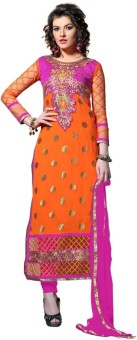 Kanafashions Georgette, Net Embroidered Semi-stitched Salwar Suit Dupatta Material
