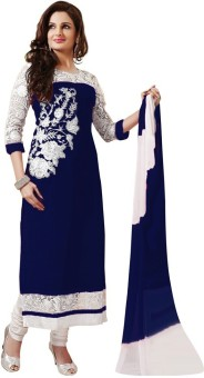 Bestdeal Ethnic Georgette Embroidered Semi-stitched Salwar Suit Dupatta Material Unstitched