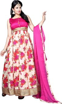 The Fashion World Silk Floral Print Semi-stitched Salwar Suit Dupatta Material Semi-stitched