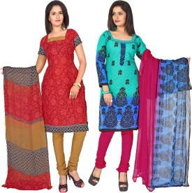 Khoobee Cotton, Jacquard Printed Salwar Suit Dupatta Material Unstitched