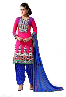 Fashion Bhuria Fashion Chanderi Embroidered Salwar Suit Dupatta Material (Multicolor)