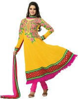 Fabdeal Georgette Floral Print Semi-stitched Salwar Suit Dupatta Material Fabric - Unstitched