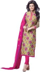 Gopika Creation Chanderi, Chiffon Embroidered Salwar Suit Dupatta Material