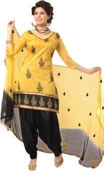 Design Desk Cotton Linen Blend Embroidered Semi-stitched Salwar Suit Dupatta Material Unstitched