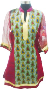 Tu Es Belle Cotton, Nylon Geometric Print Kurti Fabric Un-stitched