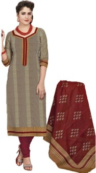 Stylish Girls Cotton Printed Semi-stitched Salwar Suit Dupatta Material Unstitched - FABE9XFCFPFWGVGG