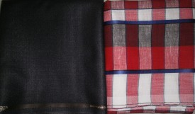 Amin Cotton, Cotton Polyester Blend Checkered, Solid Shirt & Trouser Fabric