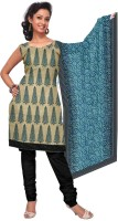 Cenizas Cotton, Silk Printed Dress/Top Material Fabric Unstitched