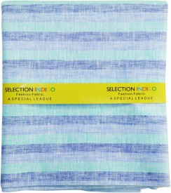 Selection Indigo Cotton Linen Blend Striped Shirt Fabric