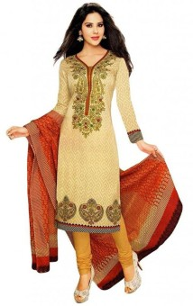 Awesome Fab Cotton Printed Semi-stitched Salwar Suit Dupatta Material Semi-stitched