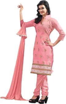 Khoobee Chanderi Embroidered, Self Design Salwar Suit Dupatta Material Un-stitched