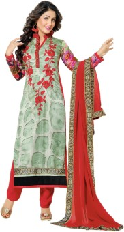 MF Satin Printed, Embroidered Semi-stitched Salwar Suit Dupatta Material Semi-stitched