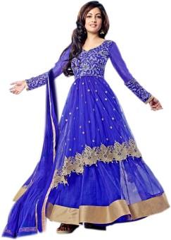 Craftliva Net Floral Print Semi-stitched Salwar Suit Dupatta Material Unstitched