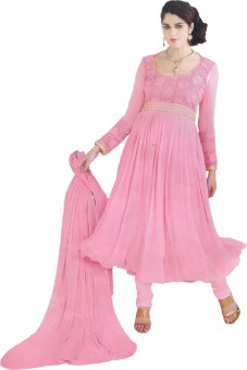 Party Wear Dresses Georgette Embroidered Semi-stitched Salwar Suit Dupatta Material Unstitched