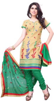 Diva Fusion Cotton Embroidered Semi-stitched Salwar Suit Dupatta Material (Unstitched)
