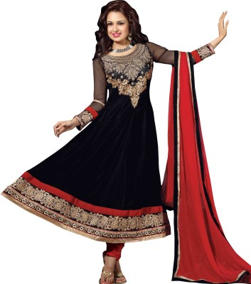 Parvati Fabrics Velvet Self Design Dress/Top Material Unstitched
