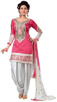 M.D's Collection Chanderi, Cotton Embroidered Kurta & Patiyala Material Un-stitched