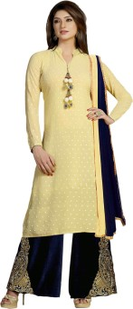Manjaree Georgette, Velvet Embroidered Semi-stitched Salwar Suit Dupatta Material Unstitched