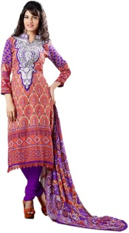 The Ethnic Wear Cotton Polyester Blend Printed Salwar Suit Dupatta Material Unstitched