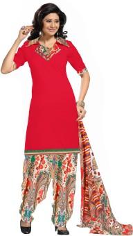 Riti Riwaz Cotton Floral Print, Solid Salwar Suit Dupatta Material Unstitched