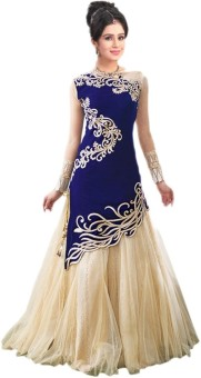 Pramukh9071 Georgette, Velvet, Net Embroidered Semi-stitched Lehenga Choli Material