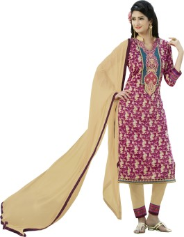 Kvsfab Cotton Silk Blend Printed, Embroidered Salwar Suit Material Un-stitched - FABEGE6WZZDXPDGW