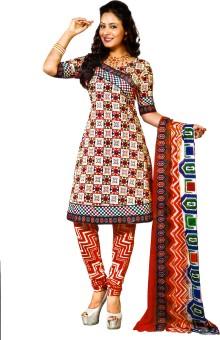 Jevi Prints Cotton, Chiffon Printed, Geometric Print Salwar Suit Dupatta Material Un-stitched