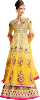 Go Traditional Georgette Embroidered, Printed Semi-stitched Lehenga Choli Material Unstitched